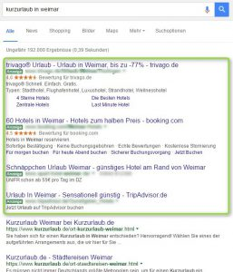 Screenshot der Google AdWords Anzeigen